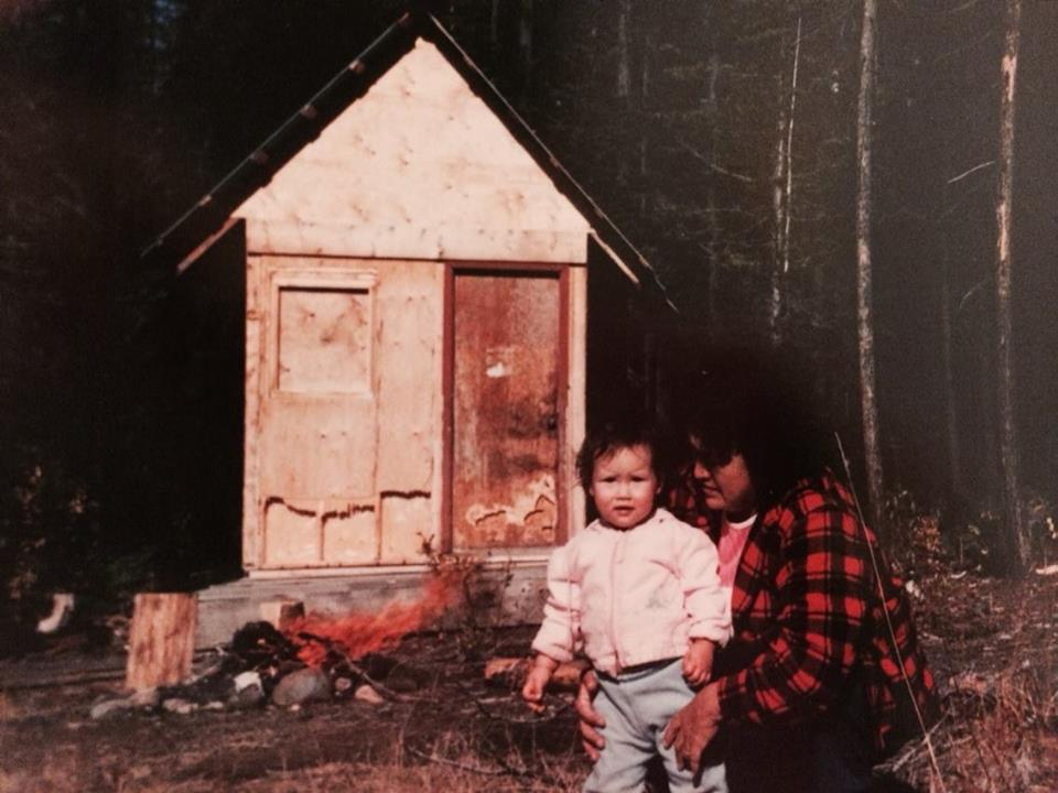 This cabin stood beside a slightly larger cabin just below the 66km bridge (where the blockade is located), It was built as a trapping cabin and used for one season before the logging company CANFOR came and burned the two cabins to the ground because they considered them a fire hazard.