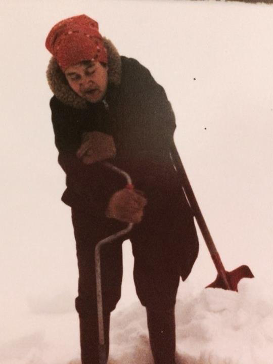 This is Tsakiy Ze' Wehalih (Freda's mother) using an ice auger at a lake on the territory.